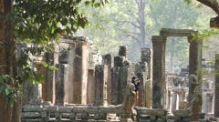 Photographing Monks at the Bayon Khmer temple Stock Footage
