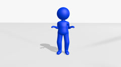 Standing Stickman Animation Suddenly Falls To His Knees And Celebrates Victor Stock Footage