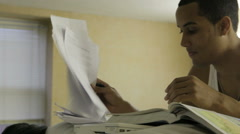 Black College Student Studying For Exam - stock footage