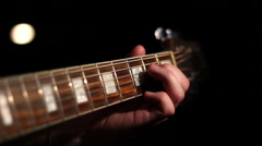 Acoustic guitar. Strings. - stock footage