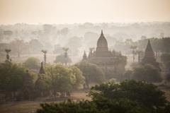 Sunrise at the Temples of Bagan (Pagan), Myanmar (Burma), Asia - stock photo