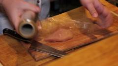 Wrap chiken meat  in stretch wrap Stock Footage