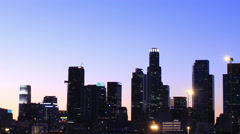 Los Angeles Skyline at night Stock Footage
