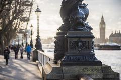 Dolphin lamp post, South Bank, London, England, United Kingdom, Europe Stock Photos