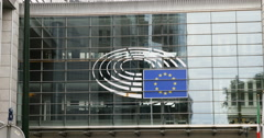 Zoom out from the European Union new identity logo Stock Footage