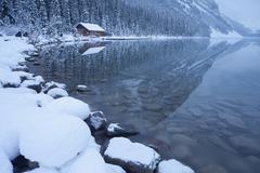 Stock Photo of Boat house at Lake Louise, Banff National Park, UNESCO World Heritage Site,