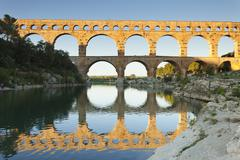 Pont du Gard, Roman aqueduct, UNESCO World Heritage Site, River Gard, - stock photo