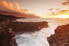 Stock Photo of Lava coast of Las Puntas at sunset, El Golfo, biosphere reserve, El Hierro,