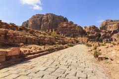 Colonnaded Street, City of Petra ruins, Petra, UNESCO World Heritage Site, - stock photo
