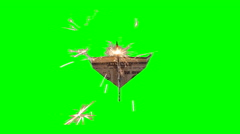 Rocket Dollar Paper Plane Flying Over with Chroma Green Background Stock Footage