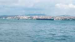 Horizontal panning view of the Bosporus river Stock Footage