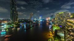 Bangkok night main river traffic bay panorama 4k time lapse thailand Stock Footage