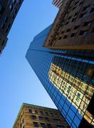 Looking up through Boston skyscrapers, Boston, Massachusetts, New England, Stock Photos