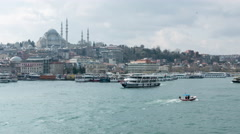 Panning and zooming view of the Bosporus river in Istanbul Stock Footage