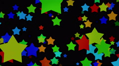 Cartoon Colored Big Stars On Black Background Stock Footage