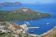 Porto di Levante and Vulcanello view, Lipari and Pannarea Island in the Stock Photos