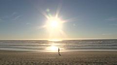 A Long Walk On The Beach Stock Footage