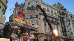 Arabian Nights style Fallas in downtown Valencia for celebration 4k - stock footage