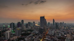 Sunset bangkok roof top city river panorama 4k time lapse thailand Stock Footage