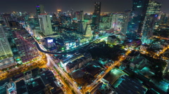 Bangkok downtown night illumination roof traffic street 4k time lapse thailand Stock Footage