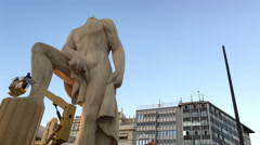 Crew working on constructing Fallas in downtown Valencia 4k - stock footage