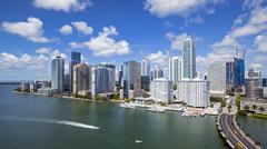 View from Brickell Key, a small island covered in apartment towers, towards the Stock Photos