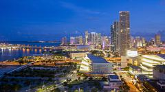 Elevated view over Biscayne Boulevard and the skyline of Miami, Florida, United - stock photo