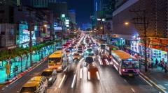 Night street traffic downtown bridge panorama 4k time lapse thailand Stock Footage