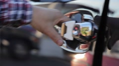 Close up of hand opening car door. Stock Footage