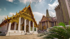 Bangkok sunny day main temple of the emerald buddha 4k time lapse thailand Stock Footage