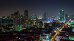 Night bangkok roof top city flyer panorama 4k time lapse thailand Stock Footage