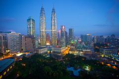 Petronas Towers at night, Kuala Lumpur, Malaysia, Southeast Asia, Asia - stock photo