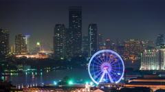 night illumination flyer bangkok bay roof top panorama 4k time lapse thailand - stock footage