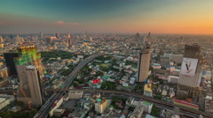 Bangkok sunset roof top city traffic panorama 4k time lapse thailand Stock Footage