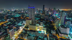 Night light bangkok city downtown roof panorama 4k time lapse thailand Stock Footage