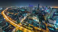 Night traffic road bangkok roof top panorama 4k time lapse thailand Stock Footage