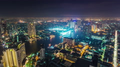 Night illumination roof top bangkok bay traffic panorama 4k time lapse thailand Stock Footage