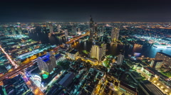 Hotel roof top night bangkok river panorama 4k time lapse thailand Stock Footage