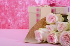 Mothers Day gift and flowers. Stock Photos