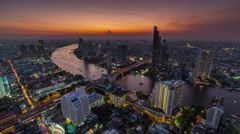 Sunset night hotel roof top river panorama 4k time lapse thailand Stock Footage