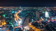 Bangkok city nigh tillumination traffic roof top panorama 4k time lapse thailand Stock Footage