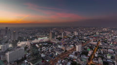 Sunset night roof top bangkok river panorama 4k time lapse thailand Stock Footage