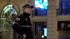 Valencia police force standing guard at evening event 4k - stock footage