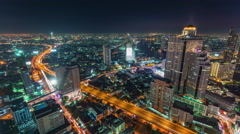 Bangkok city street road traffic roof top panorama 4k time lapse thailand Stock Footage