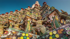 Colored details of bangkok famous temple decoration 4k time lapse thailand Stock Footage