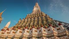 Sunset wat arun famous bangkok temple decoration 4k time lapse thailand Stock Footage