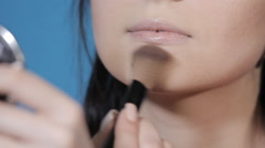 Cosmetic brush applies powder Stock Footage