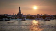 Sunset light famous bangkok river bay temple 4k time lapse thailand Stock Footage