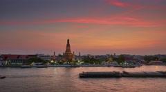 Sunset bangkok river bay wat arun temple panorama 4k time lapse thailand Stock Footage