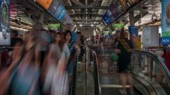 Bangkok day city crowded metro station 4k time lapse thailand Stock Footage